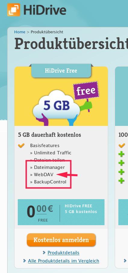 WebDAV gibt es auch bei der kostenlosen Cloud.