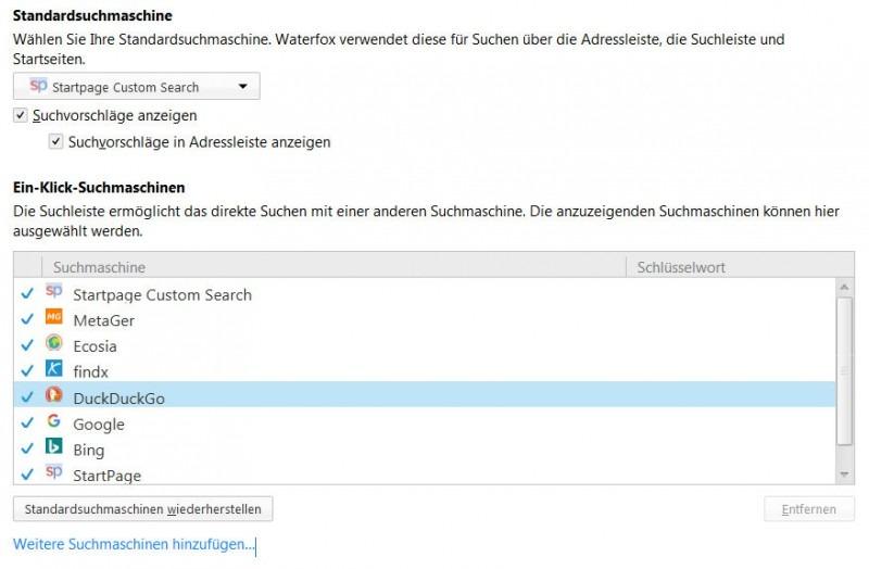 Sucheinstellungen Firefox