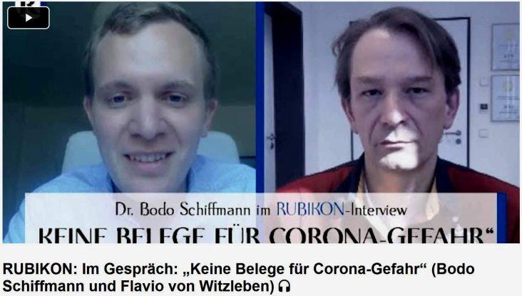 """Ein """"Interview"""" unter Gleichgesinnten. Flavio von Witzleben (l.) und Dr. Bodo Schiffmann (r.). Entgegen aller paranoiden Vermutungen ist das Video auf YT immer noch abrufbar. Wie konnte das im Polizeistaat BRD nur passieren?"""